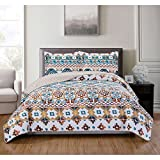 LO 3 Piece White Blue Orange Southwest Quilt Queen Set, Tan Native American Bedding Artistic Indian Tribal Pattern Southwestern Colors, Reversible Vibrant Cotton Polyester