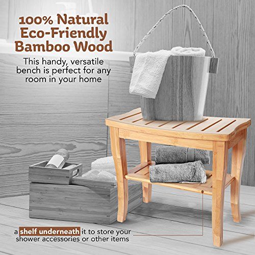 ToiletTree Products Deluxe Wooden Bamboo Shower Seat Bench with Underneath Storage Shelf