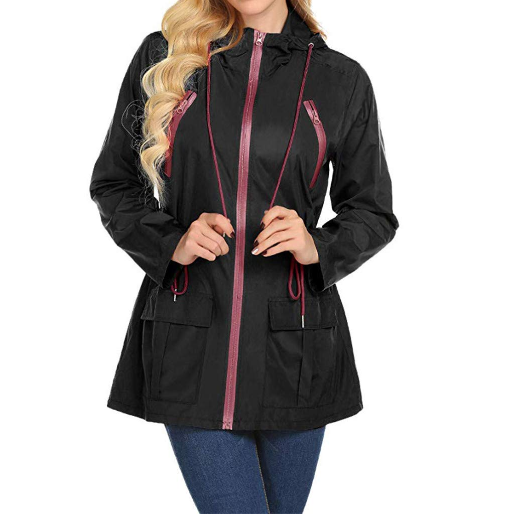 Dermanony Women's Raincoat with Hood Loose Pure Color Outdoor Jackets Lightweight Waterproof Windbreaker Rain Jacket Black by Dermanony _Coat