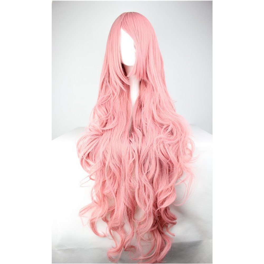 Curly Cosplay Wig Long Hair Heat Resistant Spiral Costume Wigs Pink 39.4