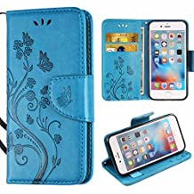 iPhone 5 SE Case,i-Dawn Premium Leather Wallet Flip Protective Case with Wristlet Lanyard and Kickstand for Apple iPhone 5/5S/SE Blue