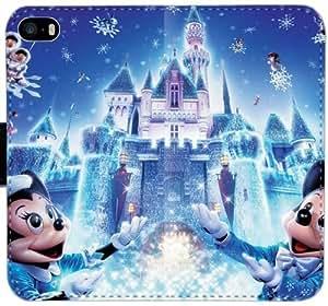 Castillo de Disney I8U1W Funda iPhone 5 5S 5SE funda de cuero caja de la carpeta sqay74 Diseño duros funda del caso del tirón