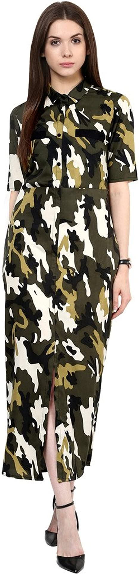 Zima Leto Military Shirt Maxi Dress Women's Dresses at amazon