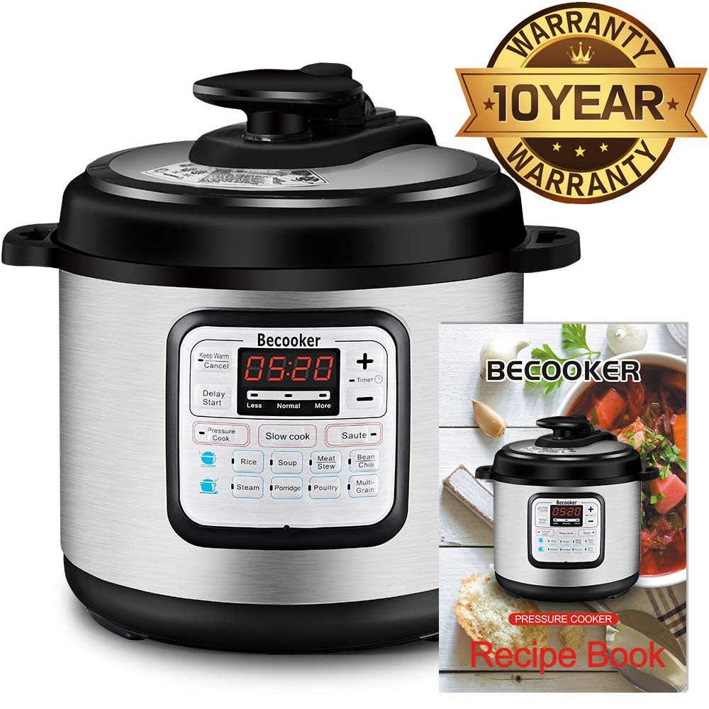 Becooker 11-in-1 Multi-Function Programmable Electric Pressure Slow Cooker, Stainless Steel Pot, 4 Quart, Black by Becooker