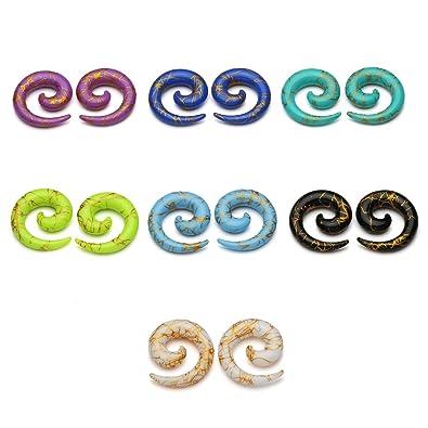 3 4 Plugs >> Amazon Com Bopreina 14pcs Mixed 7 Colors Uv Acrylic Spiral Snail