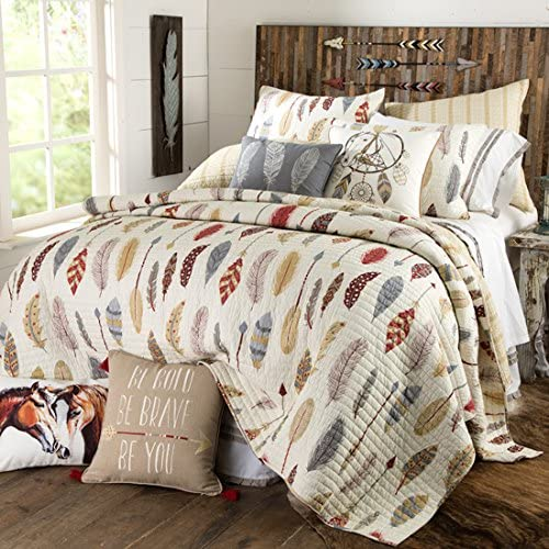 Rods Love Faith Ride Southwest Feather Quilted Bedding Full-Queen