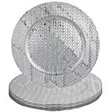 Basket Weave Design 13'' Round Plastic Charger Dinner Plates by bogo Brands (Silver Set of 100)