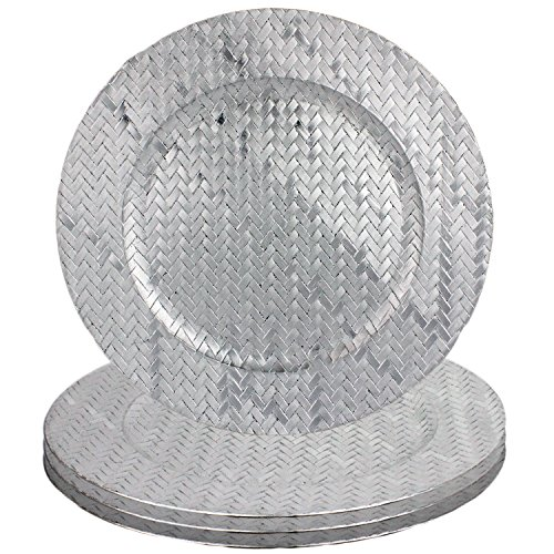 Basket Weave Design 13'' Round Plastic Charger Dinner Plates by bogo Brands (Silver Set of 50) by bogo brands