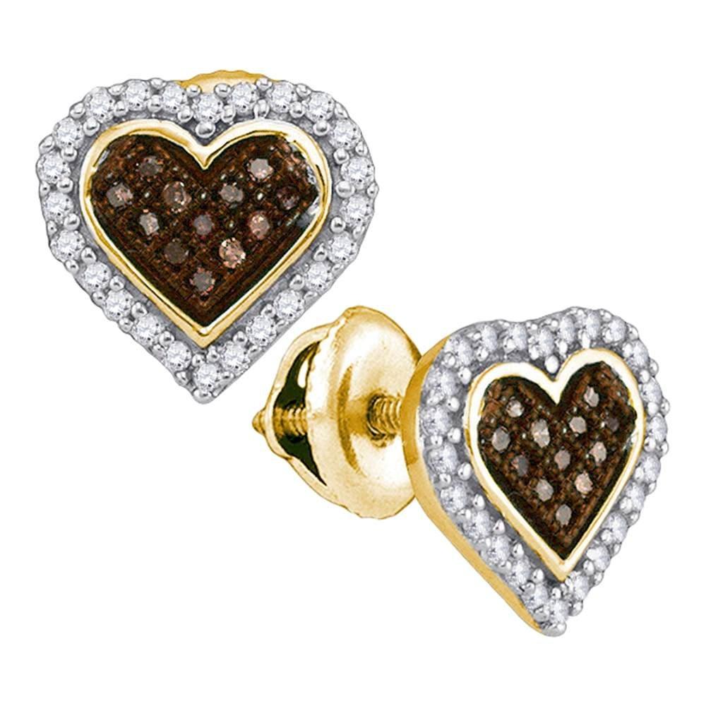 2b8233b83b416 Amazon.com: 10K Yellow Gold Heart Shape Halo Studs Micro Pave Set ...