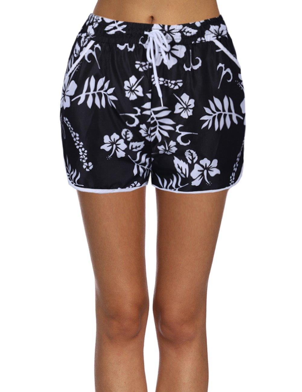 Yeleo Trosetry Women's Floral Flower Print Casual Beach Shorts Adjustable Drawstring Boy Style Board Swim Shorts with Pockets
