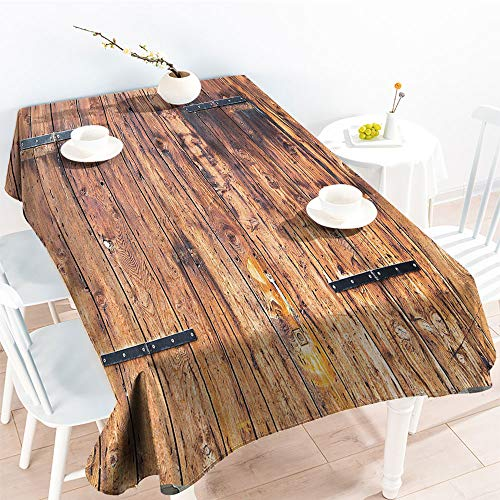 Jinguizi Decorative Fabric Table Cover Antique Timber Planks in Weathered Tones with Locks Vintage Style Country House Pictureindoor Outdoor TableclothCream(60 by 102 Inch Oblong ()