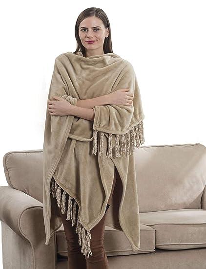d332e4e093 Amazon.com  Shop Bedding Fleece Wearable Throw Poncho - Beige Throw ...