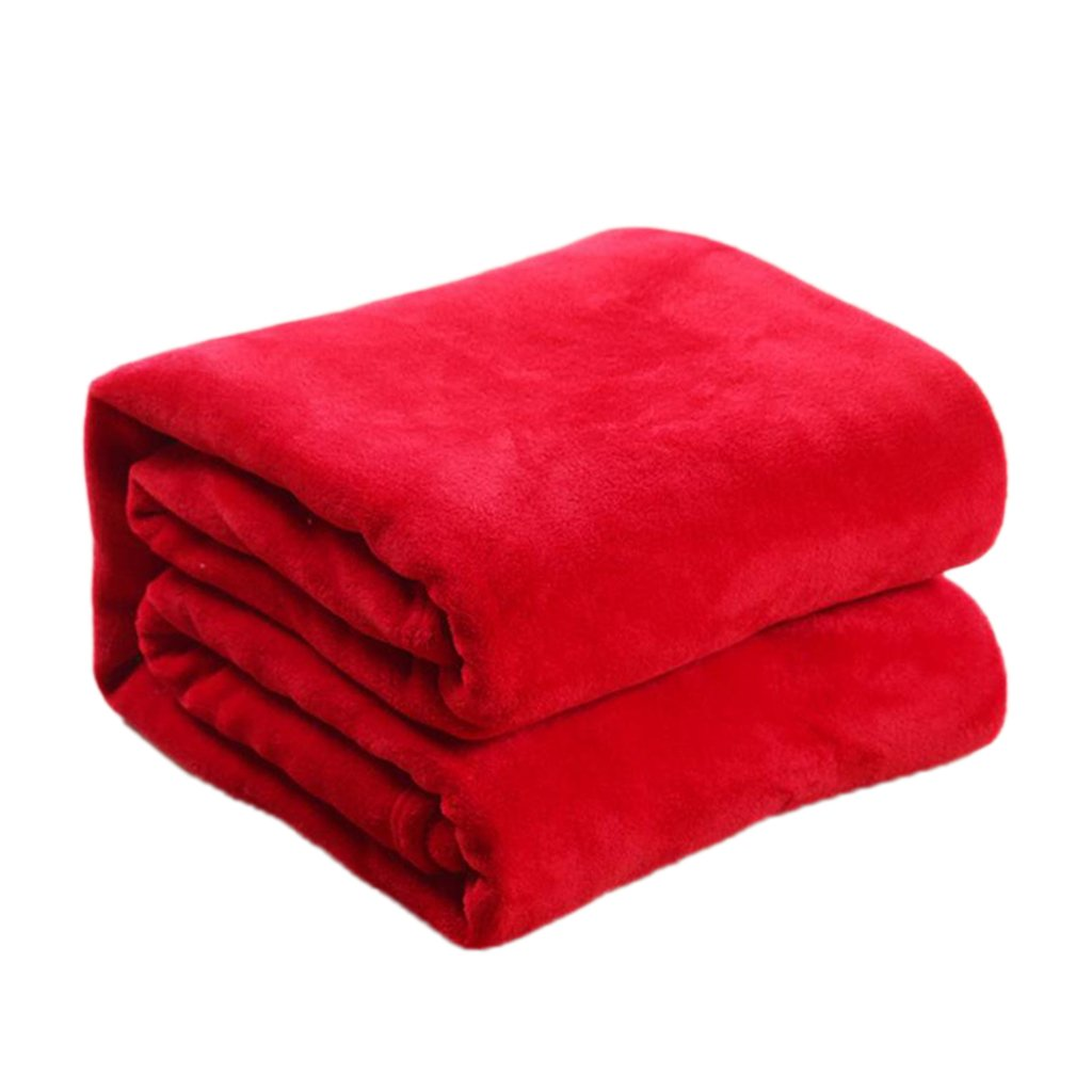 Dolity Super Soft Solid Color Luxury Blanket Flannel Throw Blanket - For Sofa Chair Car Office Windowsill Outdoor - Red, 59x79 Inch