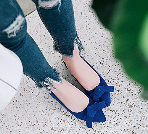 Bleu Plates Femme Chaussures Aisun Noeud Classique Fille Cheville Ballerines q1UtA8tx