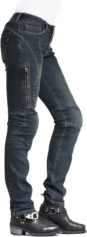 Size 24 MAXLER JEAN Biker Jeans for Women 703 Black Slim Straight Fit Motorcycle Riding Pants