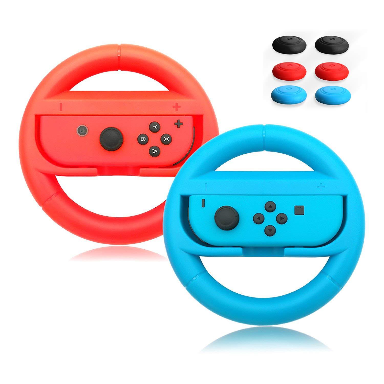 ACMETHINK Wear-Resistant Comfort Grips for Nintendo Switch Joy Cons Controller,Steering Wheel Game Handle for Nintendo Switch,2 Pack with 6 Handle Remote Sensing Mushroom Head Silicone Caps(Red +Blue) by AcmeThink