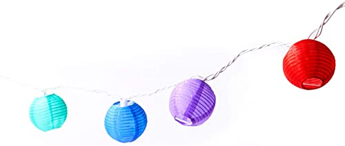 Multicolor Lantern String Lights – 20 Colored Nylon Hanging Mini Lanterns with Warm White Bulbs, 13 Feet Long, Waterproof for Indoor Outdoor Lighting, Plug in, Connect up to 22 Strands