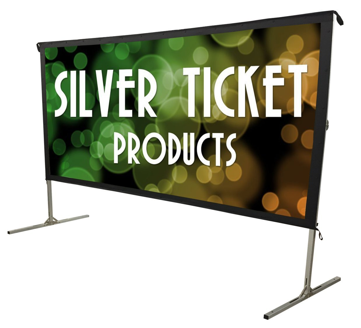 STO-169120 Silver Ticket Indoor/Outdoor 120'' Diagonal 16:9 4K Ultra HD Ready HDTV Movie Projector Screen Front Projection White Material with Black Back (STO 16:9, 120) by Silver Ticket Products