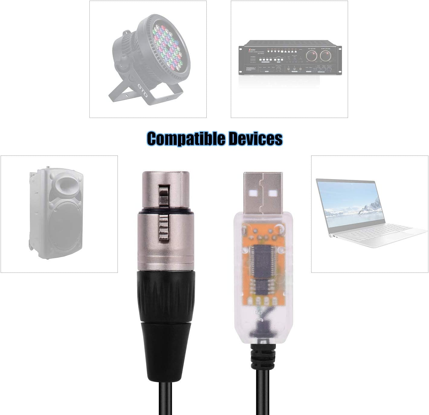 Sangmei Rs485 Dmx512 Converter Cable Usb To 3pin Xlr