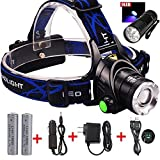 GRDE Zoomable 3 Modes Super Bright LED Headlamp with Rechargeable Batteries, Car Charger, Wall Charger and USB Cable