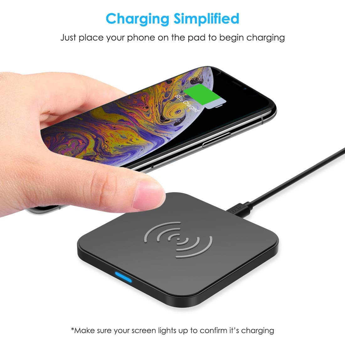 CHOETECH Wireless Charger, Qi Certified Wireless Charging Pad Compatible with iPhone Xs Max/XS/XR/X/8/8 Plus, Samsung Galaxy S10/S10+/S10E/Note 9/S9/S9+/Note 8/S8/S7, New AirPods and More by CHOETECH (Image #2)