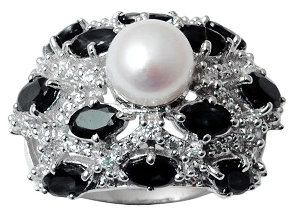 Banithani 9.25 Starling Silver Faux Pearl And Black Onyx Stone Ring Women Fashion Jewelry
