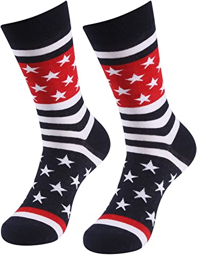 Patriotic American Flag Socks SUTTOS Unisex Fashion Casual Crew Dress Socks Men Fashion socks Wedding Gifts 2-20 Pairs