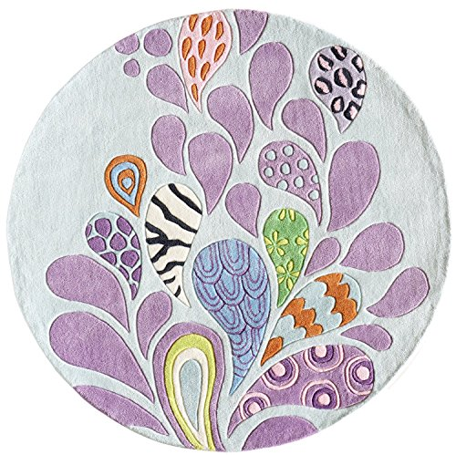 Momeni Rugs LMOTWLMT-6FKY500R Lil' Mo Hipster Collection, Kids Themed Hand Carved & Tufted Area Rug, 5' Round, Pink & Blue