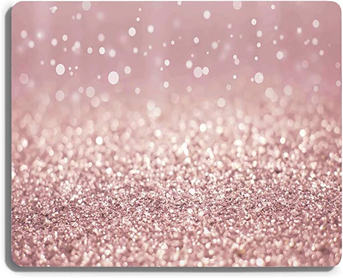 SHruizhuo Pink Gaming Mouse Pad Custom Design,Modern Fashion Design Mouse Pads for Computers Laptop(Rose Gold Rainbow Glitter)