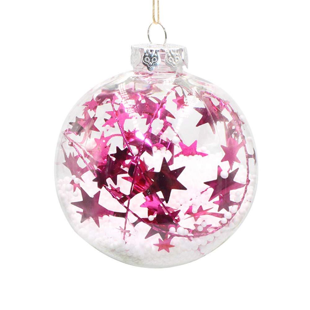 Joopee Christmas Ball Outdoor Indoor Christmas Tree Ornament Stars Transparent Plastic Ball(8cm,Hot Pink B)