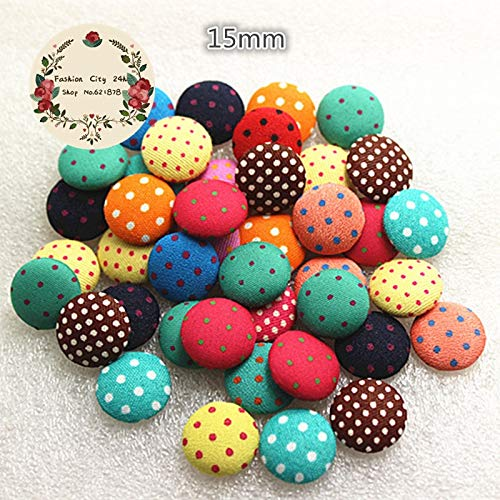 (Maslin 50pcs 15mm Button Polka-dot Printed Fabric Covered Round Button Flatback cabochon DIY Decoration Buttons Scrapbooking,BK1003)