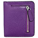 Women's RFID Blocking Small Genuine Leather Wallet Ladies Mini Card Case Purse (Lavender Purple)