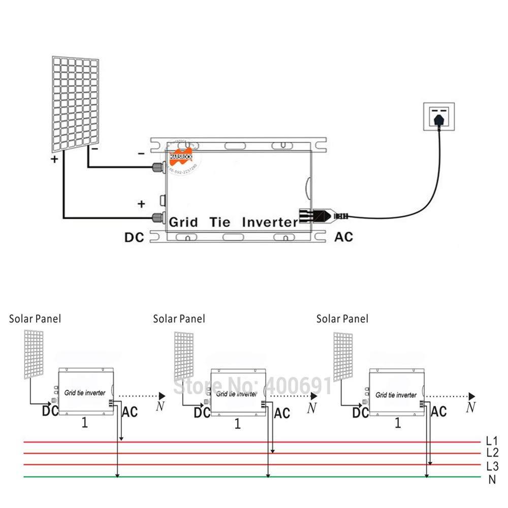 Marsrock 1000W Grid Tie Micro Solar Inverter, 20-50VDC to 90-140VAC MPPT Pure Sine Wave Inverter for 1200W 30V, 36V Solar Module System (AC120V Gold)