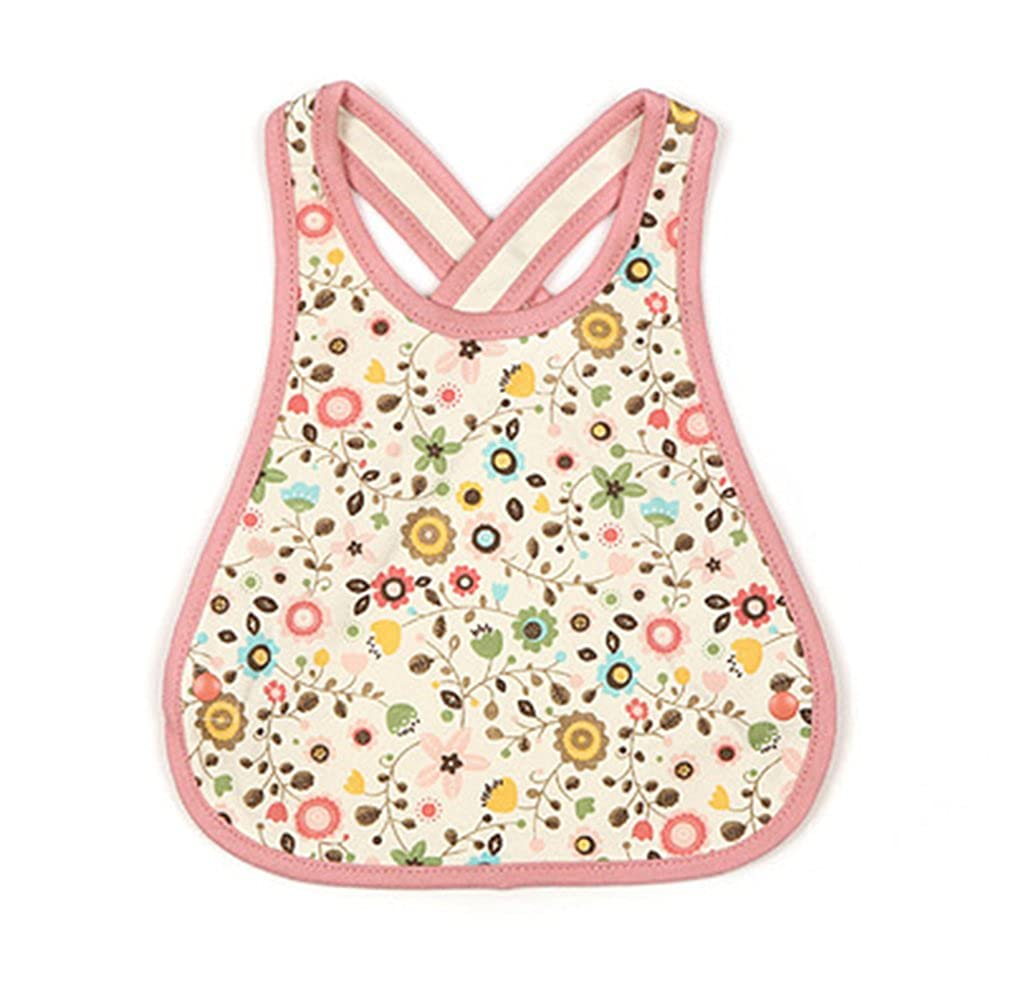 Cotton Waterproof Soft Adjustable Crossover Straps Double Snap-fastener Baby Bib, Flowers WK-CLO2498736011-ETHAN00470
