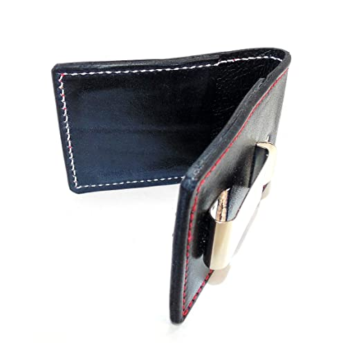 1eb6e5977ddee American Made Tuffy Men s Leather Wallet with Money Clip (Black with Red  Stitching and Black