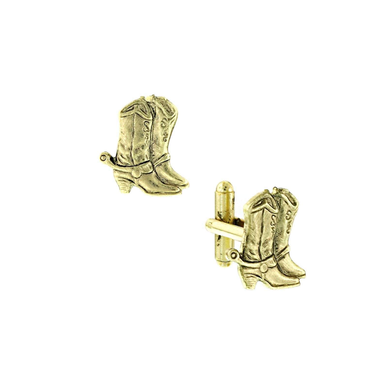 1928 Jewelry Gold-Tone Cowboy Boots Cuff Links