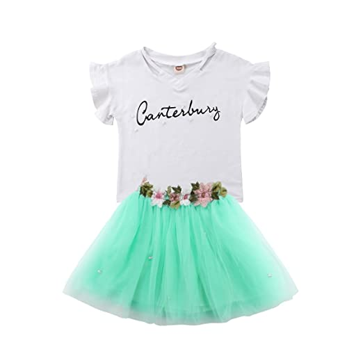 2f64805d11fa Amazon.com  Toddler Kids Baby Girl Short Sleeve T-Shirt Tops+Floral ...