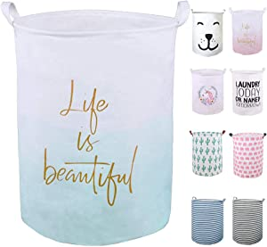 "SEAFOWL 19.7"" Collapsible Laundry Basket,Waterproof Round Canvas Large Clothes Basket Laundry Hamper with Handles, Cute Cartoon Kids Nursery Laundry Basket,Baby Gift. (Life Green)"