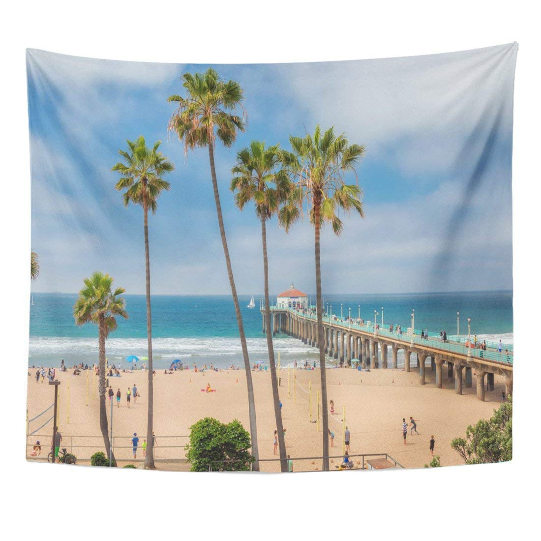 Wall Tapestries 60 x 50 inches Blue Malibu Manhattan Beach Pier Day Time Southern California Los Angeles Orange Palm America Home Decor Wall Hanging Tapestries Living Room Bedroom Dorm