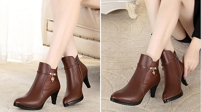 Honeystore Damen Stiefeletten High Heels Spitze Stiletto Ankle Boots mit Reißverschluss Schnalle 7cm Absatz Elegante Schuhe Hellbraun 41CN iQ7IXXHh2