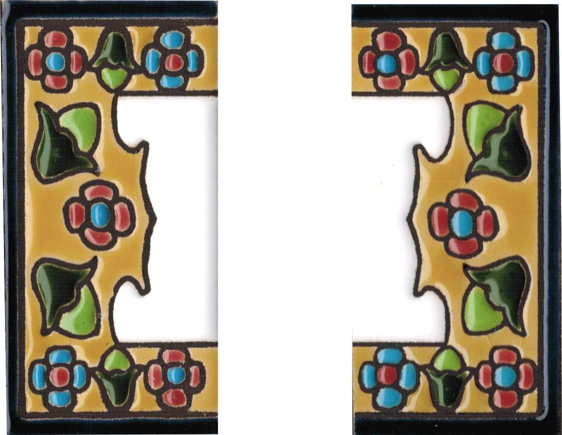Pintados a mano con la t/écnica de la cuerda seca Letra R N/úmeros y letras para casas 3,5 x 7,5 cm Grabado y Ceramica Espa/ñola