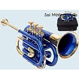 Sai Musical India PoTr-05, Pocket Trumpet, Bb, Blue