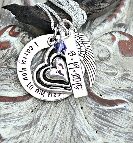 I carry you in my heart - baby feet print - angel wing necklace - loss of child - baby memorial gifts - ideas for friend grieving - mourning