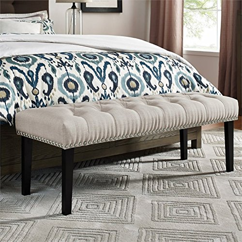 Pulaski DS-D107004-619 Beige Diamond Button Tufted Upholstered Bed Bench Accent Seating,