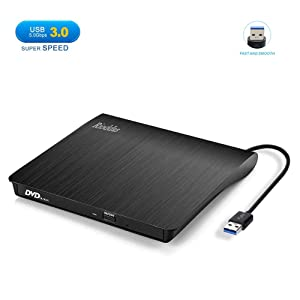 Rioddas External CD Drive, USB 3.0 Portable CD/DVD +/-RW Drive Slim DVD/CD ROM Rewriter Burner Superdrive High Speed Data Transfer for Laptop Desktop PC Windows Linux OS Apple Mac