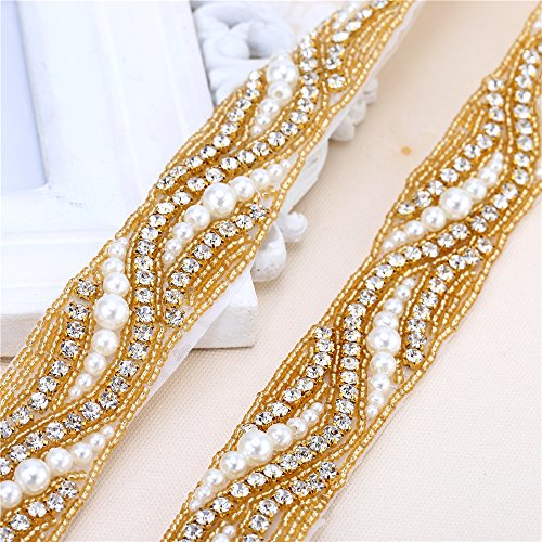 Gold Trim Thin (Gold Beaded Bridal Rhinestone Applique Trim 1 yard with Crystal Pearl for Wedding Dress Sash Prom Party Formal Belts (36x1.2in))
