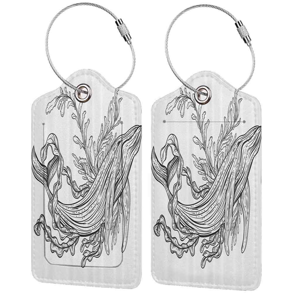 Flexible luggage tag Black and White Artistic Hand Drawn Whale Illustration with Marine Plant Leaves Ocean Life Fashion match Black White W2.7 x L4.6