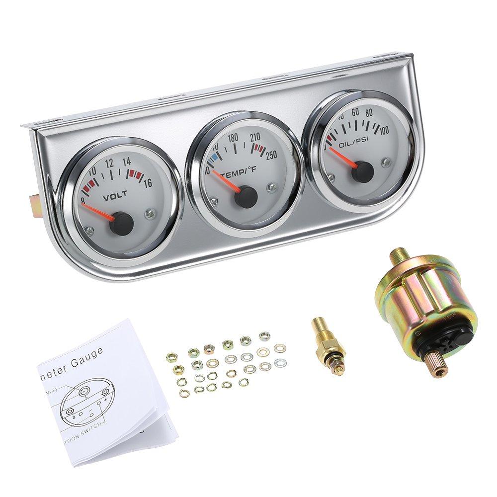 Walmeck Misuratore di pressione dell'acqua del tester del motociclo dell'automobile del corredo del calibro di 3 in 1 calibro del tester di temperatura dell'acqua di Celsius