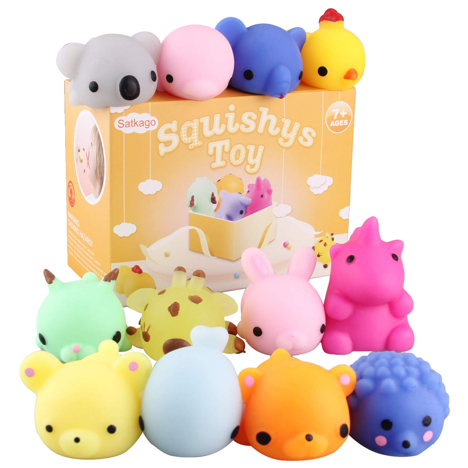 Satkago Big Squishies Toys, 12Pcs Upgrade Size Mochi Squishies Soft Stress Relief Toys for Children Adults