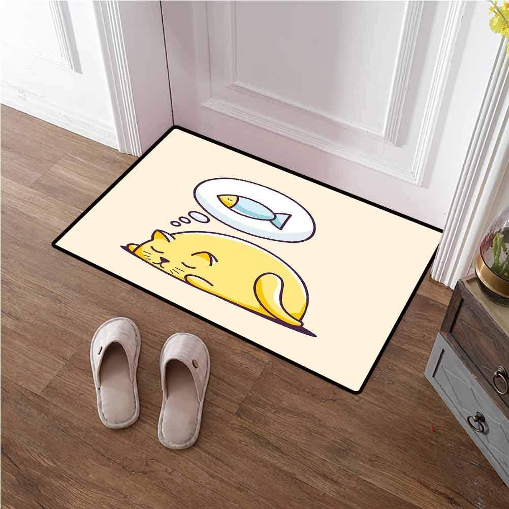 Front Door Mat Funny 3D Non-Slip Doormat Floor Mat Cute Kitty Dreaming A Fish Hungry Cat Sleeping Cheerful Character Cartoon Animal for Porch/Kitchen/Bathroom/Entry Way Yellow Peach 24x48 inches